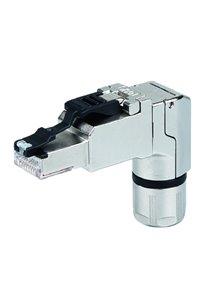 RJ45 plug angled, Field attachable Plug, straight MFP8-4x90 T568A Cat.6A Telegärtner J00026A4000